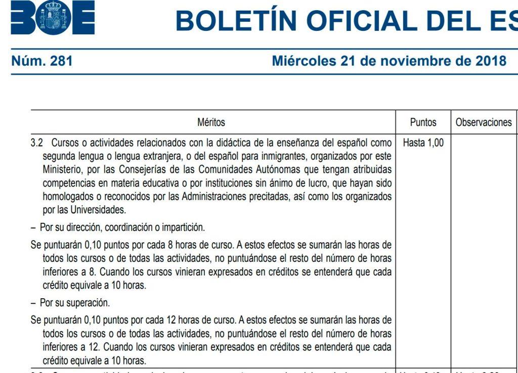 Puntuación en el concurso oposición a docentes y asesores de la Acción Educativa de España en el Exterior